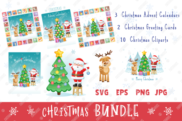 Digital Christmas Set with Santa & Deer. Graphic Illustrations By Natariis Studio