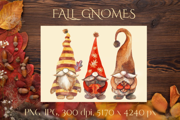 Fall Gnomes. Watercolor Clipart. Graphic Crafts By KsenyaArt