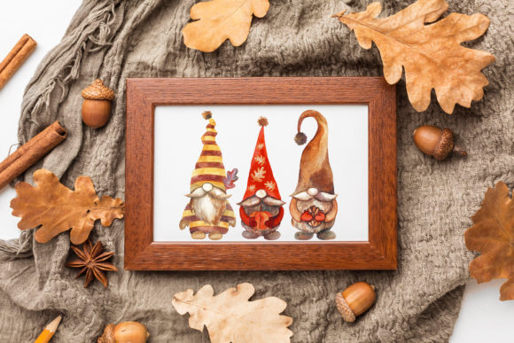 Fall Gnomes. Watercolor Clipart. Graphic Preview