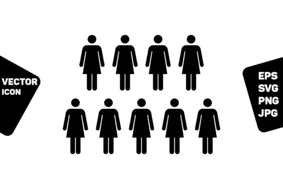 Print on Demand: Female Icon Vector Group Persons Symbol Graphic Icons By TukTuk Design