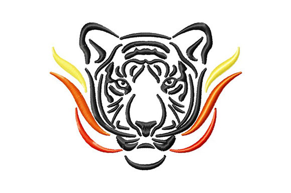 Print on Demand: Fire Tiger Wild Animals Embroidery Design By EmbArt
