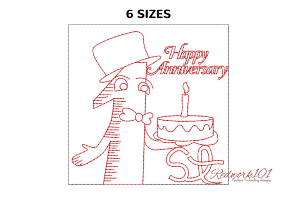 First Happy Anniversary Celebration Anniversary Embroidery Design By Redwork101
