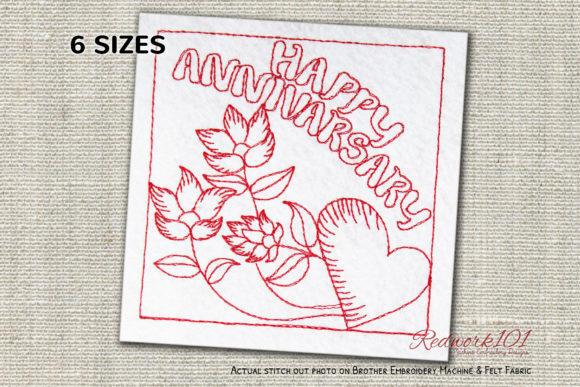 Flower in Happy Anniversary Redwork Anniversary Embroidery Design By Redwork101