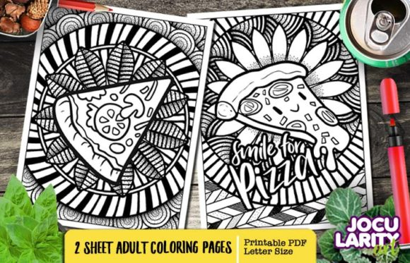 Funny Yummy Pizza Adult Coloring Page Graphic Coloring Pages & Books Adults By JocularityArt