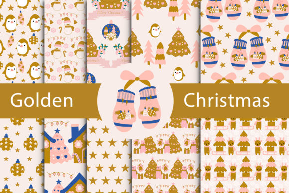 Print on Demand: Golden Christmas Collection Graphic Patterns By Andreea Eremia Design