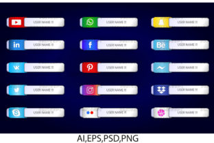 Print on Demand: Graphic Social Media Icon Bar Link Web 5 Graphic Web Elements By zerobbat