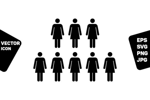 Print on Demand: Group Icon Vector Female Persons Symbol Graphic Icons By TukTuk Design