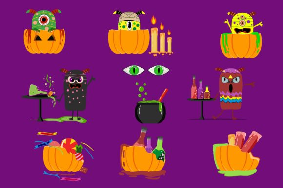 Print on Demand: Halloween Cute Monster Graphic Illustrations By purplebubble