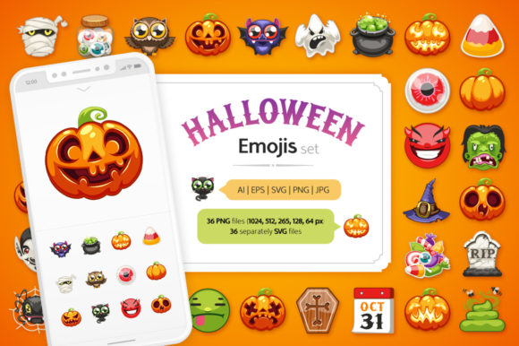 Halloween Emojis Set Graphic Icons By Voysla's Shop
