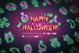 Halloween Neon Icons Graphic Icons By Voysla's Shop