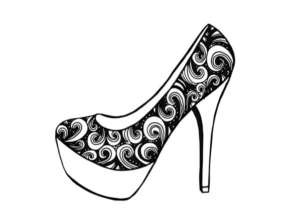 High Heel Shoe, Hand Drawn Illustration Graphic Illustrations By Santy Kamal