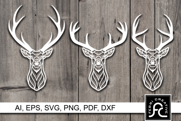 Print on Demand: Horned Deer Paper Cut Design SVG / DXF Graphic Crafts By Febri Creative