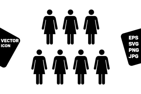 Print on Demand: Hr Icon Vector Female Group of Persons Graphic Icons By TukTuk Design