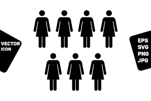 Print on Demand: Human Resources Icon Vector Female Group Graphic Icons By TukTuk Design