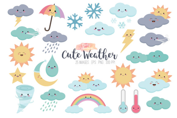 Kawaii Cute Weather Vector Clipart Graphic Illustrations By peachycottoncandy