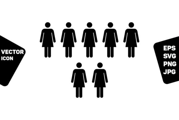 Print on Demand: Leader Icon Vector Female Group Persons Graphic Icons By TukTuk Design