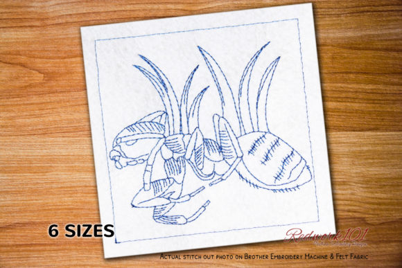 Macro Ghost Ant Design Bugs & Insects Embroidery Design By Redwork101
