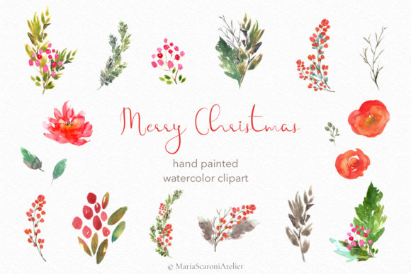 Print on Demand: Merry Christmas - Watercolor Clipart Graphic Illustrations By MariaScaroniAtelier