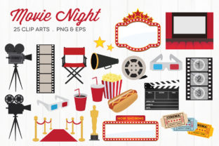 Movie Night Vector Clipart Graphic Illustrations By peachycottoncandy