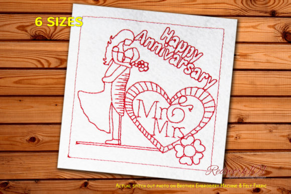 Mr. and Mrs. with Decorated Hearts Redwork Anniversary Embroidery Design By Redwork101