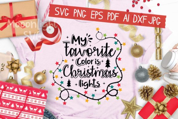 My Favorite Color is Christmas Lights Graphic Crafts By AraySVG