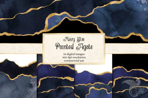 Print on Demand: Navy Blue Painted Agate Graphic Textures By Digital Curio