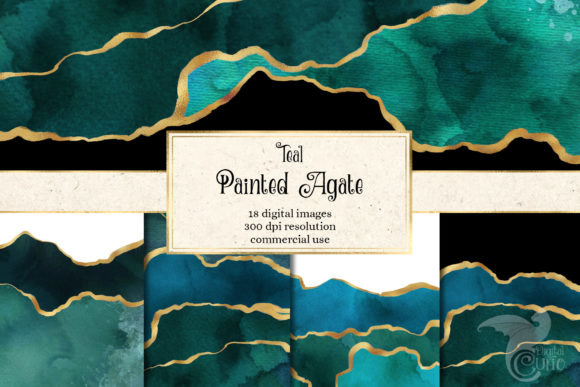 Print on Demand: Painted Teal Agate Graphic Textures By Digital Curio