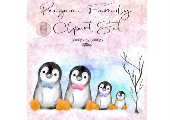 Penguin Family Clipart Gráfico Illustrations Por Marelia Designs