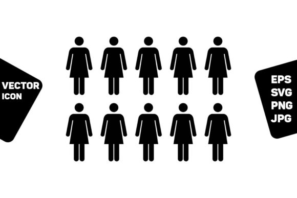 Print on Demand: People Icon Vector Female Group Person Graphic Icons By TukTuk Design