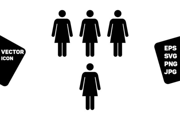 Print on Demand: People Icon Vector Female Group Persons Graphic Icons By TukTuk Design