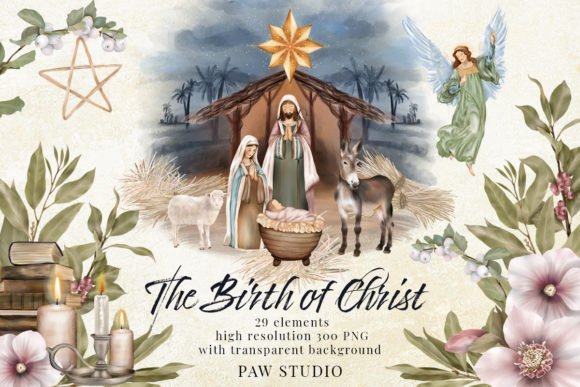 Print on Demand: Religious Christmas Birth Jesus Nativity Gráfico Illustrations Por PawStudio