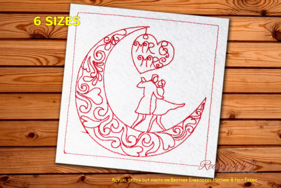 Romantic Couple Under the Moon Redwork Anniversary Embroidery Design By Redwork101