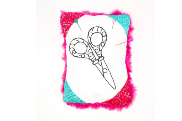 Scissor Love Pin Cushion in the Hoop Sewing & Crafts Embroidery Design By Sue O'Very Designs