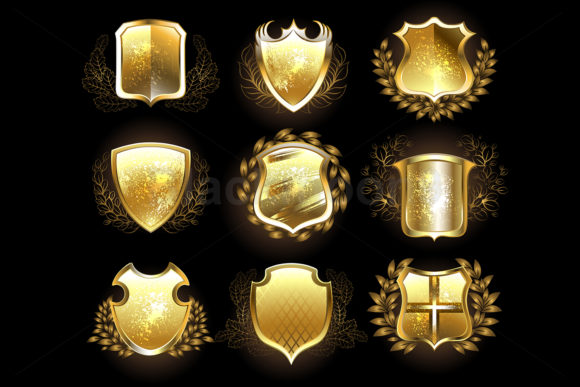 Set of Golden Shields Graphic Illustrations By Blackmoon9