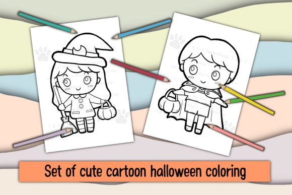 Set of Cute Cartoon Halloween Coloring Graphic Coloring Pages & Books Kids By TakeNoteDesign
