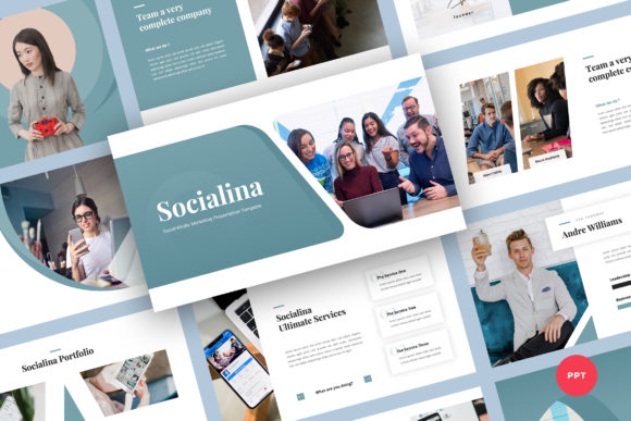 Social Media Marketing PowerPoint Graphic Presentation Templates By Graphue