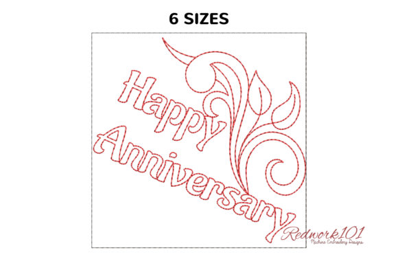 Swirl Design with Happy Anniversary Anniversary Embroidery Design By Redwork101