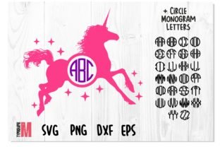 Print on Demand: Unicorn Stars Circle Monogram SVG Graphic Crafts By Typography Morozyuk