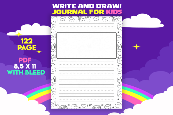 Unicorn Write and Draw Journal for Kids Graphic KDP Interiors By MK DESIGN