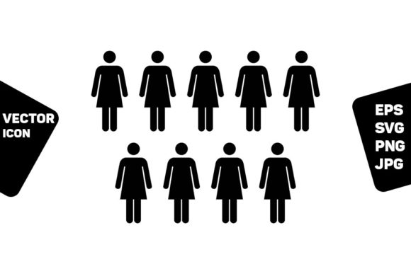 Print on Demand: Users Icon Vector Female Persons Symbol Graphic Icons By TukTuk Design