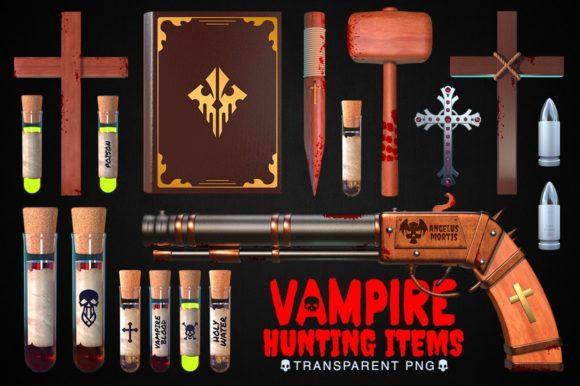 Vampire Hunting Items Collection Graphic Objects By pixaroma
