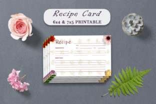 Print on Demand: Vintage Floral Recipe Card Template Graphic Print Templates By Creative Tacos