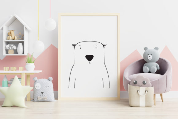 Print on Demand: Wall Art,Cute Polar Bear Animal Clip Art Graphic Illustrations By Saydung89