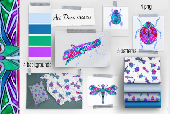 Print on Demand: Watercolor Art Deco Insects Clipart Graphic Illustrations By ElenaZlataArt