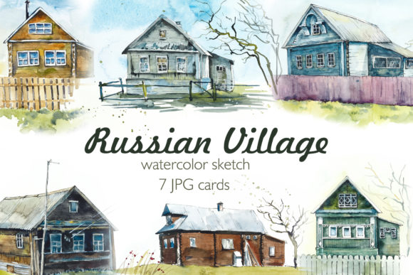 Watercolor Russian Village Graphic Illustrations By Мария Кутузова