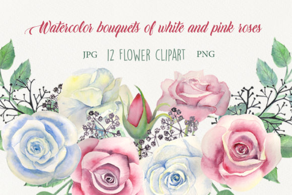 Print on Demand: Watercolor Bouquets of Roses Graphic Illustrations By Natika_art