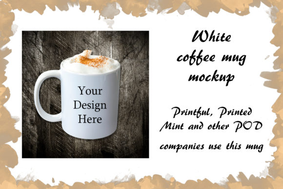 Print on Demand: White Coffee Mug Mockup Latte Graphic Food & Drinks By A Design in Time