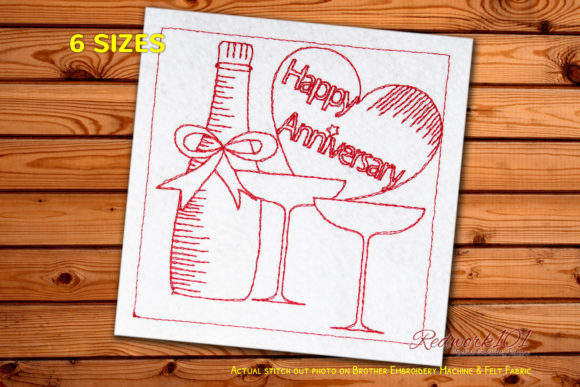 Wine Bottle with Glass Happy Anniversary Anniversary Embroidery Design By Redwork101