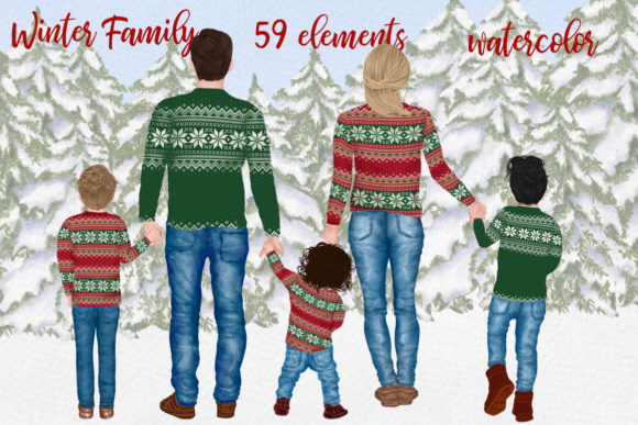 Winter Family Christmas Clipart Graphic