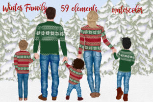 Print on Demand: Winter Family Christmas Clipart Graphic Illustrations By LeCoqDesign